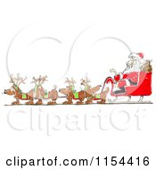 Clipart Of A Team Of Wiener Dogs Pulling Santas Sleigh Royalty Free Vector Clipart