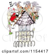 Clipart Of An Elf Hanging Off Of Santas Sleigh On A Steep Prison Tower Roof Royalty Free Vector Clipart by Spanky Art