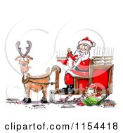 Clipart Of A Lone Reindeer With Santa And An Elf Eating Pies Royalty Free Vector Clipart by Spanky Art
