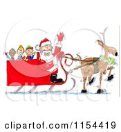 Clipart Of A Lone Reindeer Pulling Santas Sleigh With Kids Royalty Free Vector Clipart