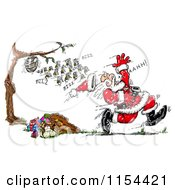 Clipart Of A Colony Of Bees Chasing Santa Royalty Free Vector Clipart