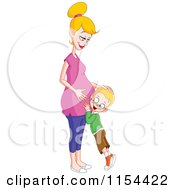 Cartoon Of A Happy Boy Listening To His Pregnant Mothers Belly Royalty Free Vector Illustration