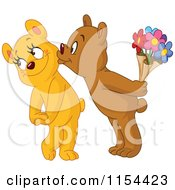 Cartoon Of A Cute Bear Kissing His Loves Cheek And Holding Flowers Royalty Free Vector Illustration