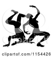 Clipart Of Black And White Horoscope Zodiac Astrology Dancing Gemini Twins Royalty Free Vector Illustration by AtStockIllustration
