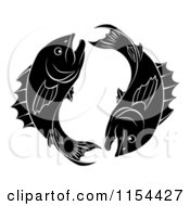 Clipart Of Black And White Pisces Zodiac Astrology Fish Royalty Free Vector Illustration by AtStockIllustration