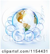 Clipart Of A Shiny Planet Earth And Bubbles Royalty Free Vector Illustration