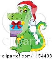 Cartoon Of A Christmas Crocodile Holding A Gift Royalty Free Vector Illustration by visekart