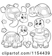 Cartoon Of Outlined Turtles Royalty Free Vector Illustration by visekart
