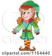 Cartoon Of A Happy Female Christmas Elf Presenting Royalty Free Vector Illustration