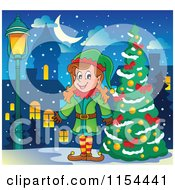 Cartoon Of A Happy Female Christmas Elf By A Tree Royalty Free Vector Illustration