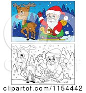 Cartoon Of A Colored And Outlined Scene Of Santa And Rudolph With The Sleigh Royalty Free Vector Illustration