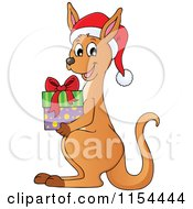 Cartoon Of A Christmas Kangaroo Holding A Gift Royalty Free Vector Illustration