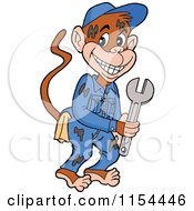 Cartoon Of A Grease Monkey Mechanic Holding A Wrench Royalty Free Vector Illustration