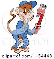 Cartoon Of A Grease Monkey Plumber Holding A Wrench Royalty Free Vector Illustration