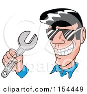 Grinning 50s Greaser Man Holding A Wrench