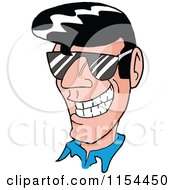 Cartoon Of A Grinning 50s Greaser Man Wearing Shades Royalty Free Vector Illustration