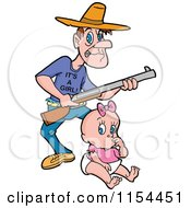 Cartoon Of A Caucasian Father With A Rifle And An Its A Girl Shirt Over A Baby Royalty Free Vector Illustration