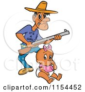 Black Father With A Rifle And An Its A Girl Shirt Over A Baby