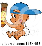 Cartoon Of A White Baby Holding Up A Cigar With Its A Boy Text Royalty Free Vector Illustration by LaffToon
