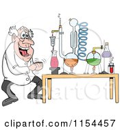 Cartoon Of A Mad Scientist Laughing By A Chemistry Project Royalty Free Vector Illustration