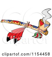 Smoking Peace Pipe With Red Feathers