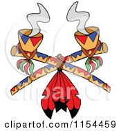 Cartoon Of Crossed Smoking Peace Pipes With Red Feathers Royalty Free Vector Illustration