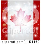 Clipart Of A Firework Burst Over A Canadian Flag Royalty Free Vector Illustration