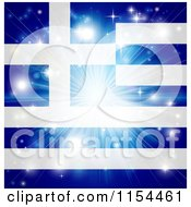 Clipart Of A Firework Burst Over A Greek Flag Royalty Free Vector Illustration