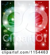 Clipart Of A Firework Burst Over An Italian Flag Royalty Free Vector Illustration