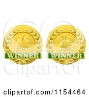 Clipart Of Golden Cat And Dog Pet Award Medals Royalty Free Vector Illustration