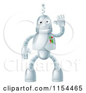 Cartoon Of A Friendly Waving Robot Mascot Royalty Free Vector Illustration by AtStockIllustration