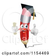 Cartoon Of A Happy Red Pencil Mascot Graduate Holding A Thumb Up Royalty Free Vector Illustration