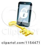 Clipart Of A 3d Locked Cell Phone With A Skeleton Key Royalty Free Vector Illustration