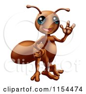 Cartoon Of A Friendly Waving Ant Royalty Free Vector Illustration