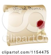 Clipart Of A Paper Scroll Official Decree And Red Wax Seal With Copyspace Royalty Free Vector Illustration by AtStockIllustration