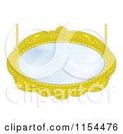 Clipart Of A Golden Oval Mirror With Chains Royalty Free Vector Illustration