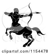 Clipart Of A Black And White Horoscope Zodiac Astrology Sagittarius Centaur Archer Royalty Free Vector Illustration by AtStockIllustration