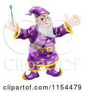 Cartoon Of A Friendly Wizard Holding Up A Wand Royalty Free Vector Illustration