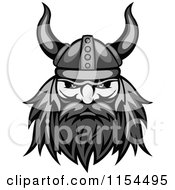 Clipart Of An Aggressive Grayscale Viking Warrior Face 2 Royalty Free Vector Illustration by Vector Tradition SM