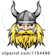 Clipart Of An Aggressive Blond Viking Warrior Face Royalty Free Vector Illustration