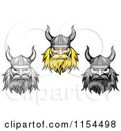 Clipart Of Aggressive Blond And Grayscale Viking Warrior Faces Royalty Free Vector Illustration by Vector Tradition SM