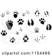 Clipart Of Silhouetted Animal Tracks Royalty Free Vector Illustration