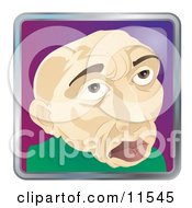 People Internet Messenger Avatar Of An Old Bald Man Clipart Illustration by AtStockIllustration