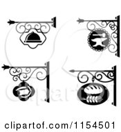 Clipart Of Black And White Store Front Shingle Signs Royalty Free Vector Illustration