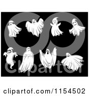 Clipart Of Ghosts And Ghouls On Black Royalty Free Vector Illustration