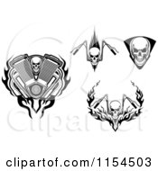 Clipart Of Skulls And Motorcycle Handle Bars Royalty Free Vector Illustration