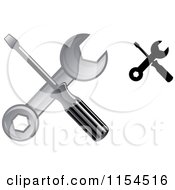 Clipart Of Crossed Screwdrivers And Spanner Wrenches Royalty Free Vector Illustration