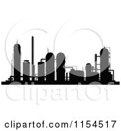 Clipart Of A Silhouetted Refinery Royalty Free Vector Illustration