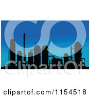 Clipart Of A Silhouetted Refinery Against Blue Royalty Free Vector Illustration
