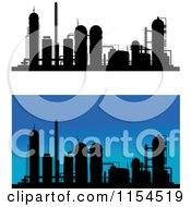 Clipart Of Silhouetted Refineries Royalty Free Vector Illustration